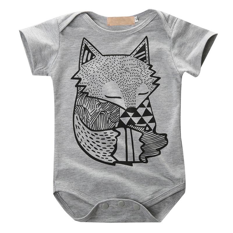 Toddler Infant Newborn Baby Boys Girls Gray Fox Print Romper Jumpsuit Sunsuit Outfits girls eyes print romper