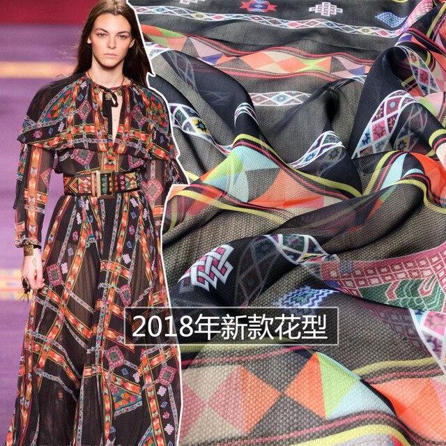 2018 spring and summer new pattern striped plaid dress digital printing fashion apparel fabric high fashion cloth factory sale