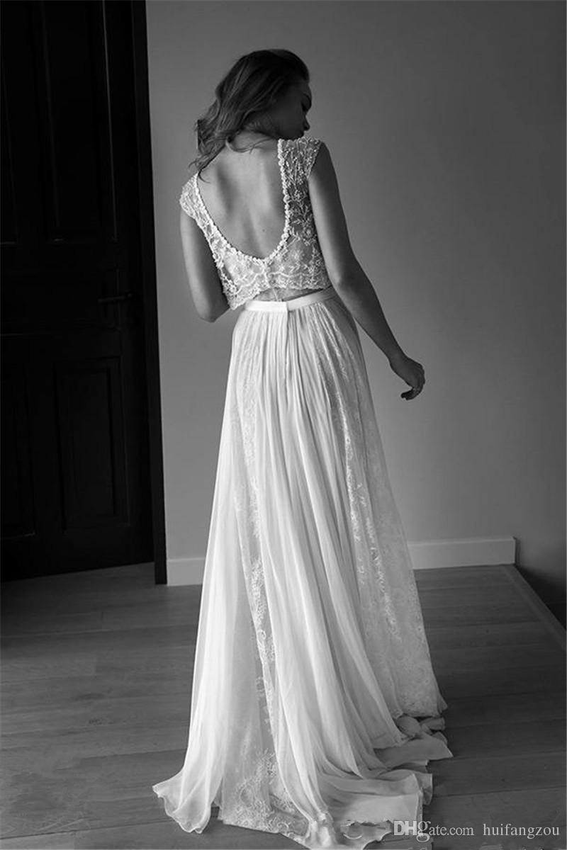 2 Piece Wedding Dress Plus Size Photo 2019 lace vintage wedding dresses  beach bohemian boho plus