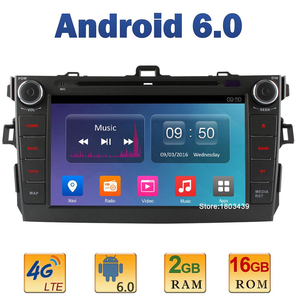 8 1024*600 Quad Core 2GB RAM+16GB ROM 4G LTE SIM WIFI Android 6 Car DVD Video Player Radio Stereo For Toyota Corolla 2006-2011