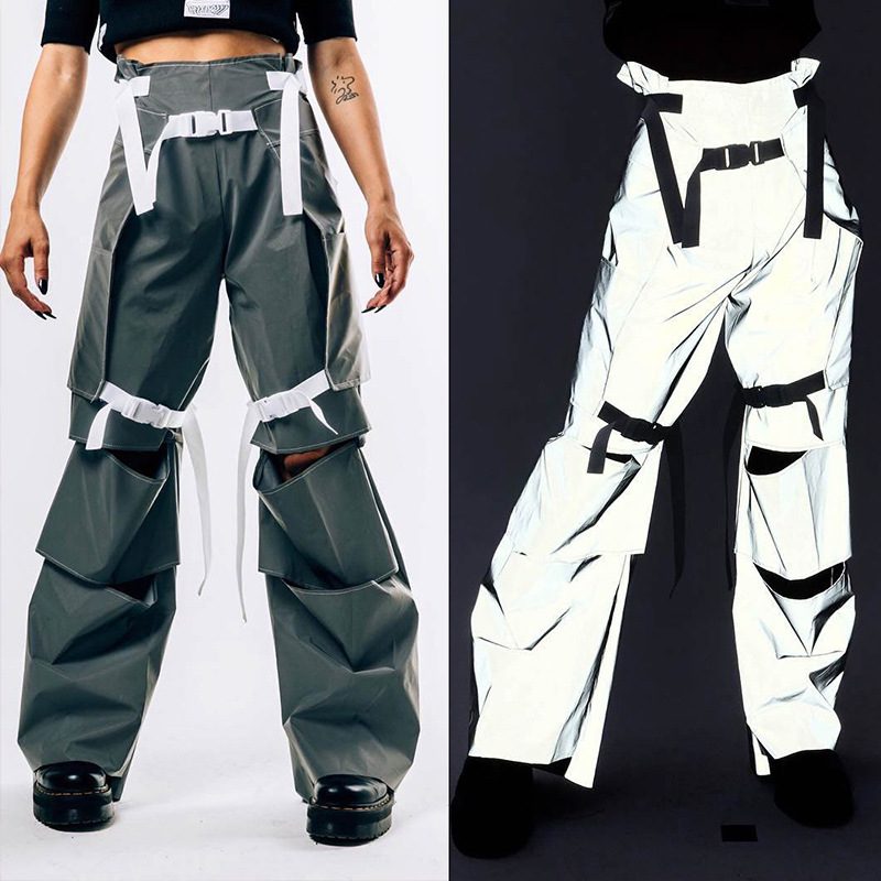 Hole Buckle Reflective   Pants   Streetwear High Waist Cargo   Pants   Women   Wide     Leg     Pants   Casual Trousers Bottoms reflected