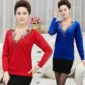 Outono moda de nova camisa das senhoras T flores bordadas manga longa malha camiseta camisola colrs doces plus size
