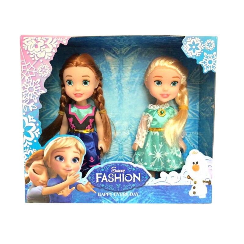 2pcs Disney 16cm Cute Toy Doll Frozen Princess Doll Cartoon Anna Elsa Doll for Childrens Christmas Gift Toys funko pop princess elsa anna action figure model doll kids toys birthday gift for girl 410cm christmas gift
