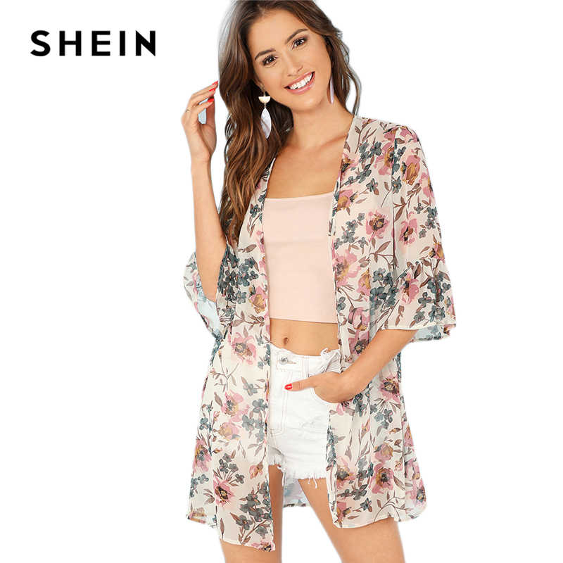 cf9a6bb345 ... SHEIN Multicolor Vacation Boho Bohemian Beach Floral Print Flounce  Sleeve Long Kimono Summer Women Weekend Casual