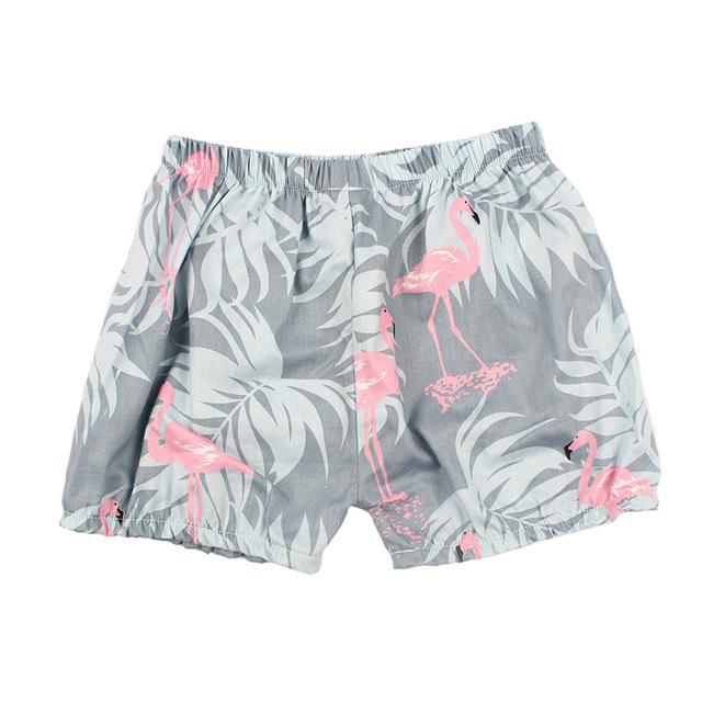 Girls' Loose Printed Cotton Shorts