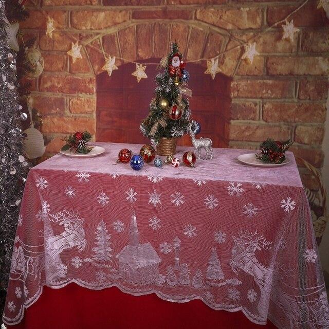 Incroyable Christmas Wedding Tablecloth Snowflake Elk Lace Table Cloth Glass Table  Cover Polyester Christmas Room Wedding Decor