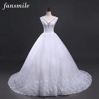 Fansmile Lace Up Baljurk Kwaliteit Trouwjurken 2017 Kleine Staart Plus Size Bruids Trouwjurk Echte Foto Gratis Verzending
