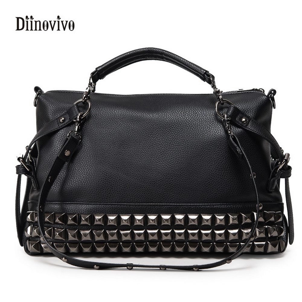 DIINOVIVO Fashion Rock Style Youth Leather Handbags Women Casual Punk Totes Simple Brand Ladies' Luxury Messenger Bag WHDV0059