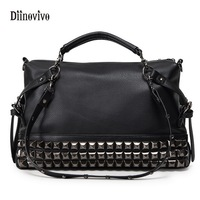 DIINOVIVO Fashion Rock Style Youth Leather Handbags Women Casual Punk Totes Simple Brand Ladies Luxury Messenger