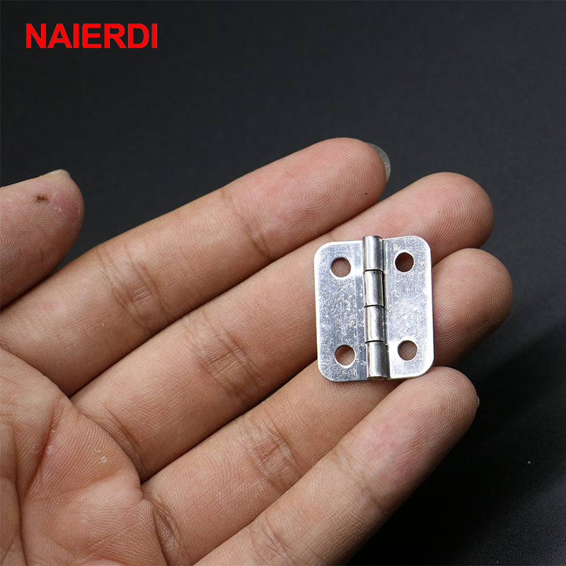 NAIERDI 10pcs 25mm x 20mm Silver Mini Door Hinges Cabinet Drawer Jewellery Box Mini Hinge With Screws For Furniture Hardware 2pcs 90 degree concealed hinges cabinet cupboard furniture hinges bridge shaped door hinge with screws diy hardware tools mayitr