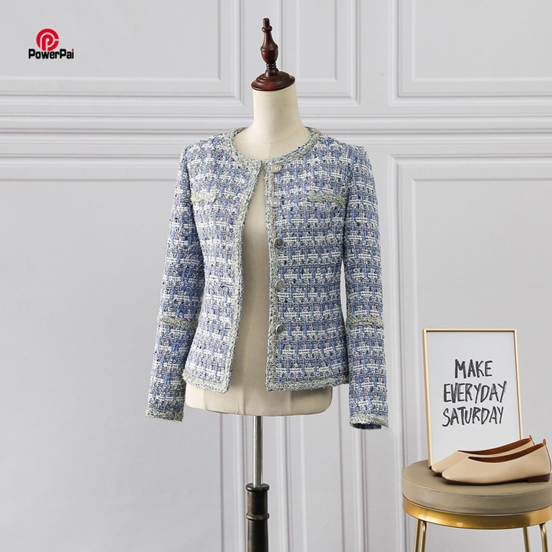 Personal Custom Good Blue White Tweed Blends Jacket Long Sleeve Spun Gold Trimming Casual Business Women