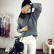 Take the lead in the autumn and winter color collar loose shirt sleeve polo neck sweater head half Korean women