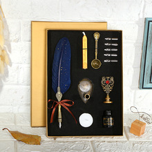 BECODE Luxury Fountain Pen Set Vintage sprinkling gold Feather Student Calligraphy Writing Dip birthday gift 5 Nib Quill