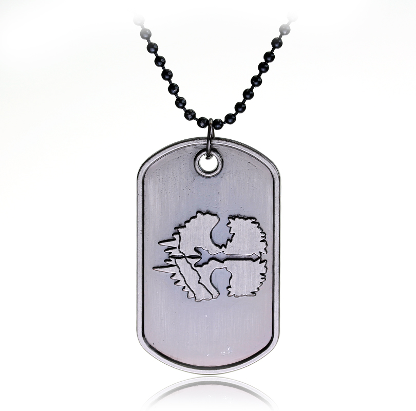 Rock Punk Call Duty Necklaces Dog Tag Ghosts Pendant Necklace Black Bead Chain Cosplay jewelry Charm Accessories