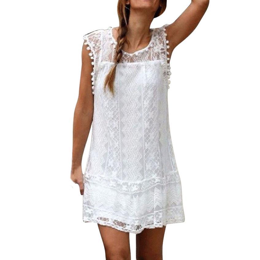 Womail Women Casual Sleeveless Dresses White Hollow Lace Tassel Mini Dress Solid Beach Short Dress 6.Apr.2
