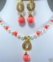 shipping7 8MM White Akoya Cultured Pearl /Pink Coral Necklace Earring Set AAA (A0423) Bride jewelry free shipping