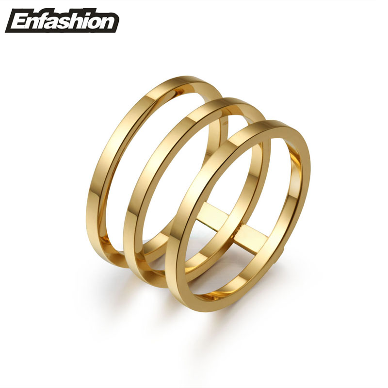 Enfashion 3 Rows Layered Rings Rose Gold color Midi Ring Stainless Steel Ring Knuckle Rings For Women Jewelry Bagues Anillos chic double layered bar ring for women