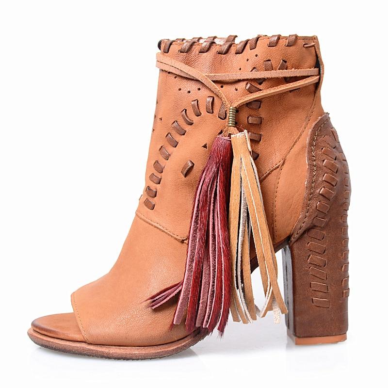 Abesire/высокое качество, женские с украшением в виде кисточки, сандалии гладиаторы с открытым носком, женские ботинки на высоком квадратном ка