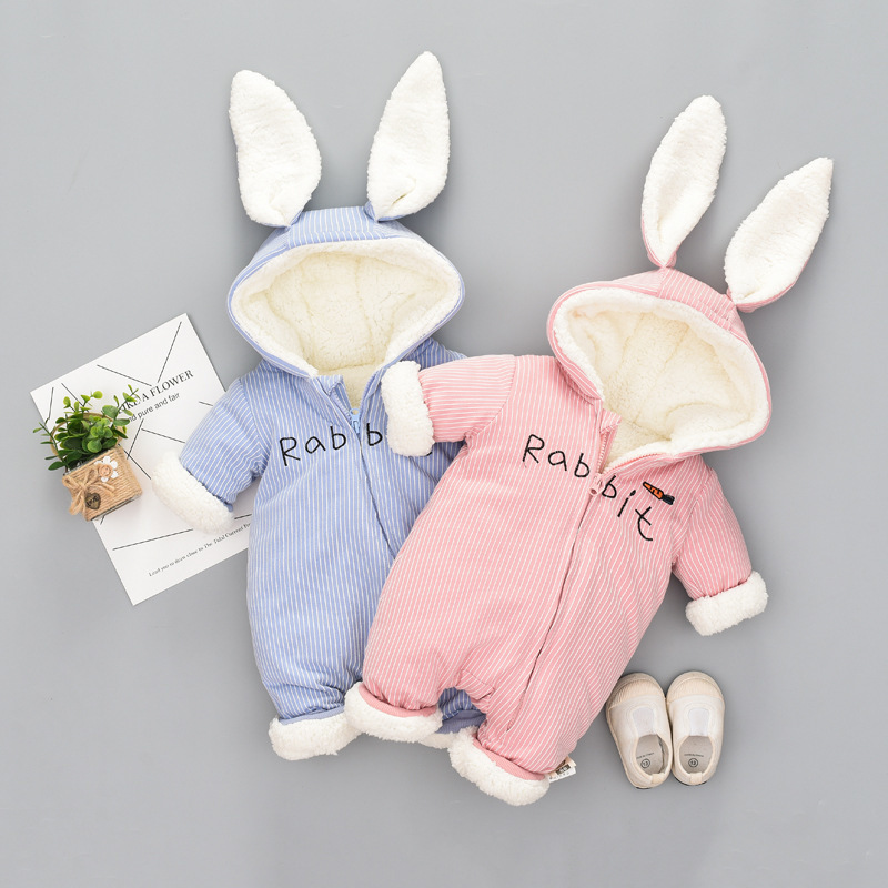 Baby Winter Outerwear Newborn Clothes Infant Boys Girls Cotton Thick Padded Cute Rabbit Romper Kid Long-sleeve Warm Jumpsuit pudcoco newborn infant baby girls clothes short sleeve floral romper headband summer cute cotton one piece clothes