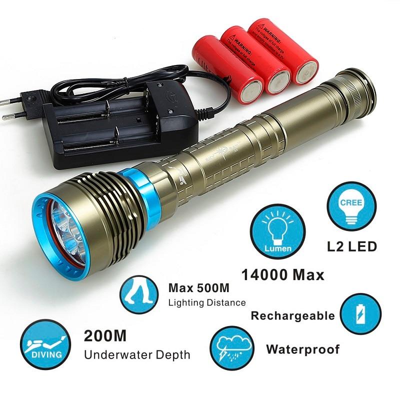 Lampe de poche de plongée 7x XML T6 L2LED lampe de poche linternas sous-marine 100M lampe torche étanche lampe torche 26650/18650