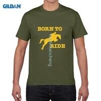 GILDAN DIY Style Mens T Shirts Born To Ride Horse Riding Novelty Printed Men S T