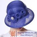 Sinamay Sombreros 100% Sinamay June'syoung 2015 Nueva Manera Del Verano Desgaste Del Banquete de Boda de Color Azul Real de Alta Calidad Elegante de la Señora Sombreros