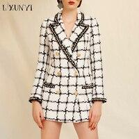 LXUNYI High Street Beaded Plaid Blazer Jacket Women Double Breasted Slim Chaquetas Suits Blazer Coat Female Office tweed Blazers