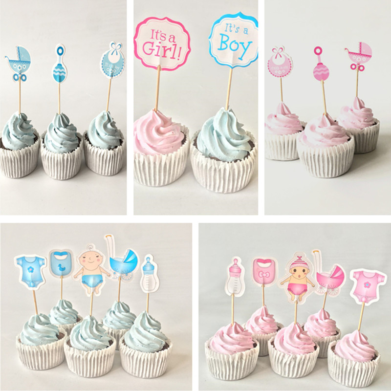 12/<font><b>18</b></font>/20pcs Baby Shower Cupcake Toppers Boy Girl Christening Blue <font><b>Birthday</b></font> Party <font><b>Decorations</b></font> Kids Festive Event Party Supplies image