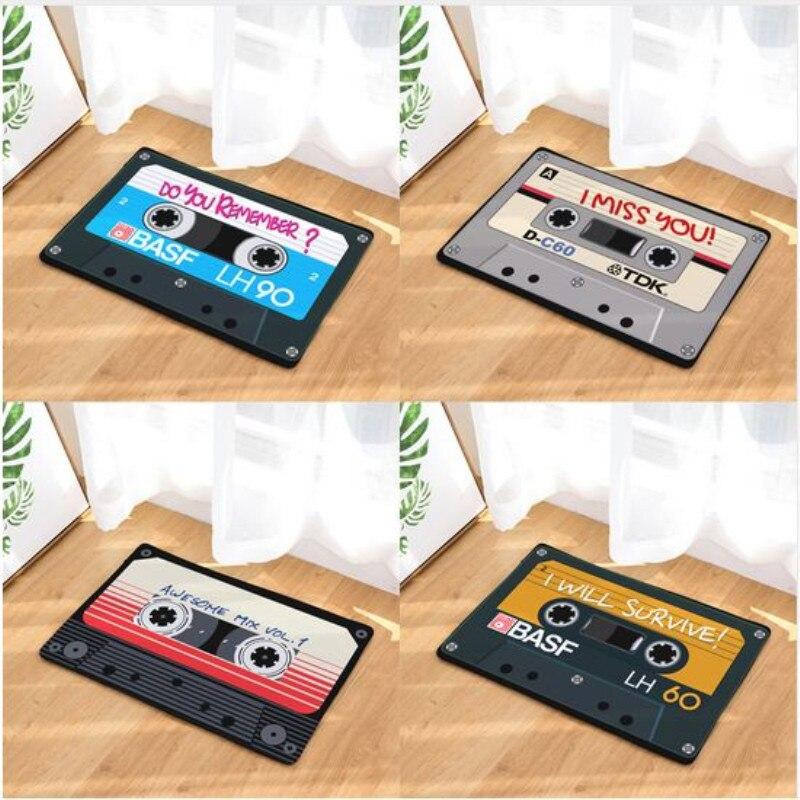 Vintage Entrance Anti-Slip Doormat Magnetic casset Tape Mix Tape Carpets Bedroom Rugs Decorative Stair Mats Home felpudo deurma