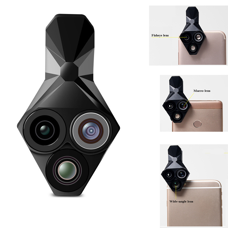 3 in 1 Phone Lens Professional Integral Turntable External Use Wide Angle + Fisheye + Macro Universal Cool Phone Camera Lens Set-in Monocular/Binoculars from Sports & Entertainment