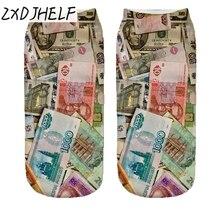 """ZXDJHELF """"EURO"""" Socks 3D Printing Female Socks Women Low Cut Ankle Socks Calcetines Mujer Casual Hosiery Printed Sock S0158"""