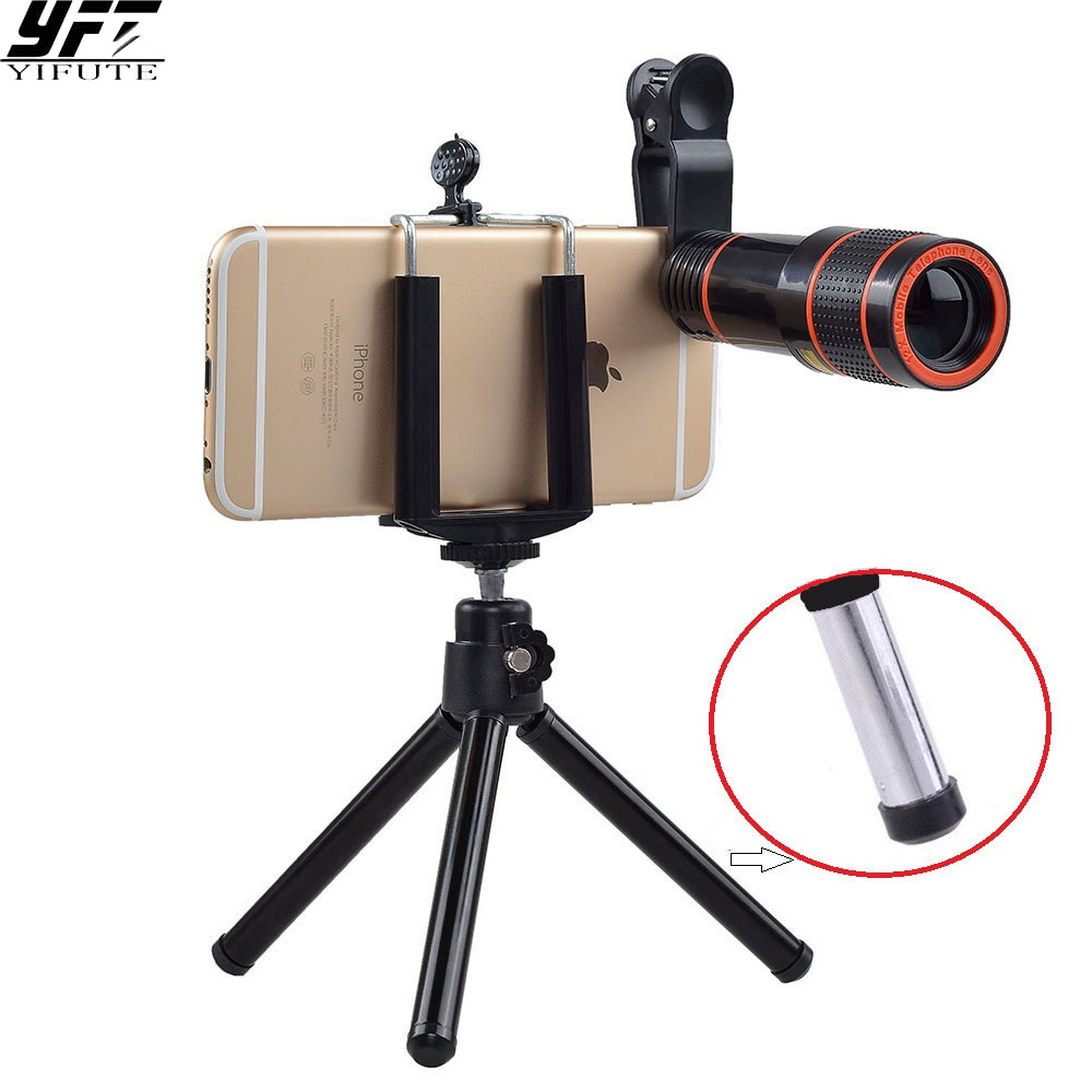 Universal 12X Zoom Mobile Phone Lens for iPhone Xiaomi Samsung S7 S8 plus Smartphones Clip Telescope Camera Lens with Tripod