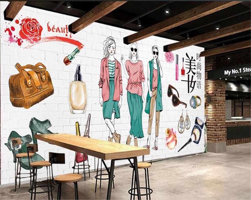 Beibehang alta qualidade simples papel de parede mão-pintado cosméticos loja de moda ferramentas fundo tapety