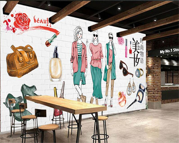 beibehang High quality simple wallpaper hand-painted cosmetics shop fashion shop tooling background wall papel de parede tapety fashion hd europe and america hand painted cosmetics wallpaper shop makeup shop background wall