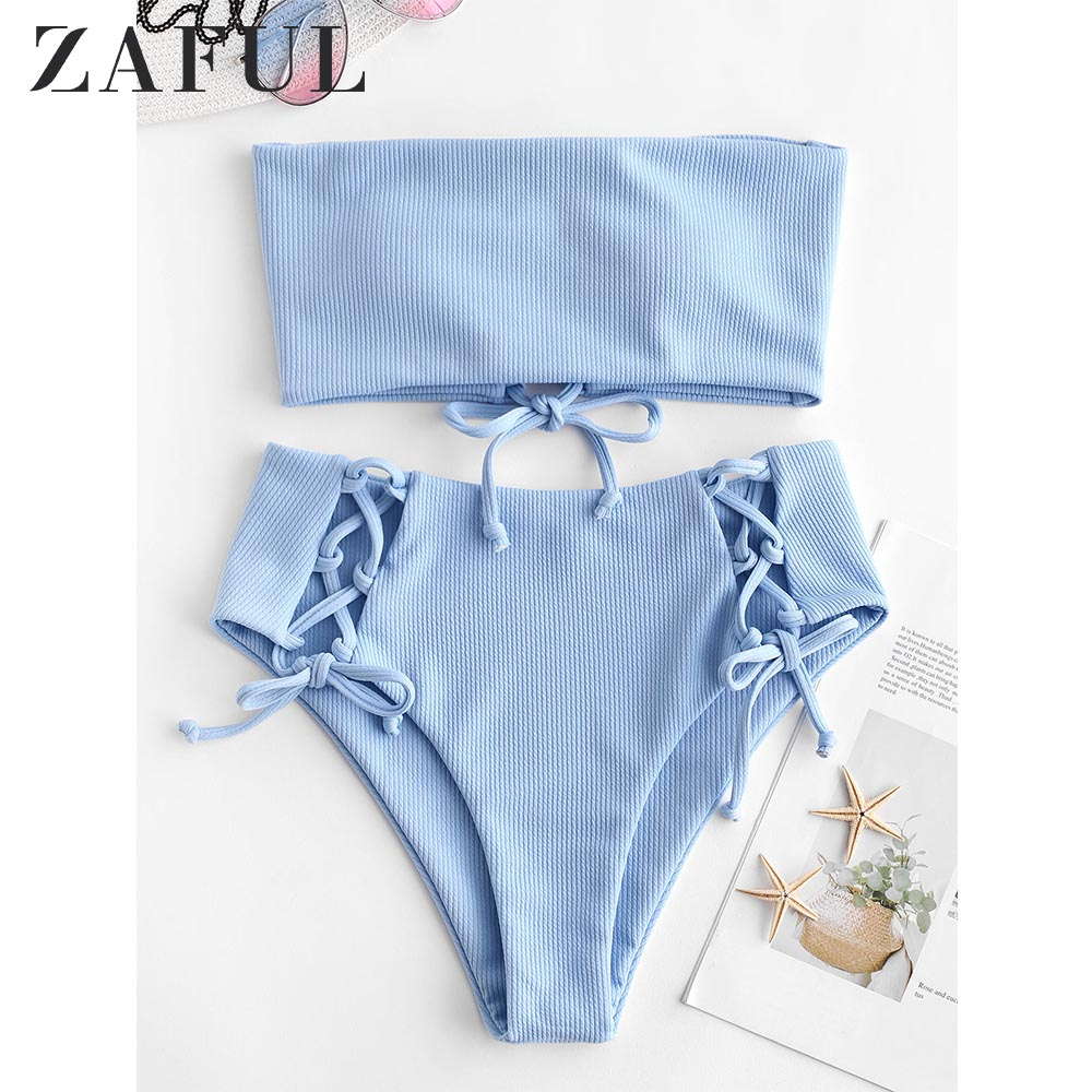 ZAFUL Ribbed Lace Up High Waisted Bikini Set Strapless High Waisted Cut Bandeau Bikini Women Solid Swimsuit Summer Swimwear 2019
