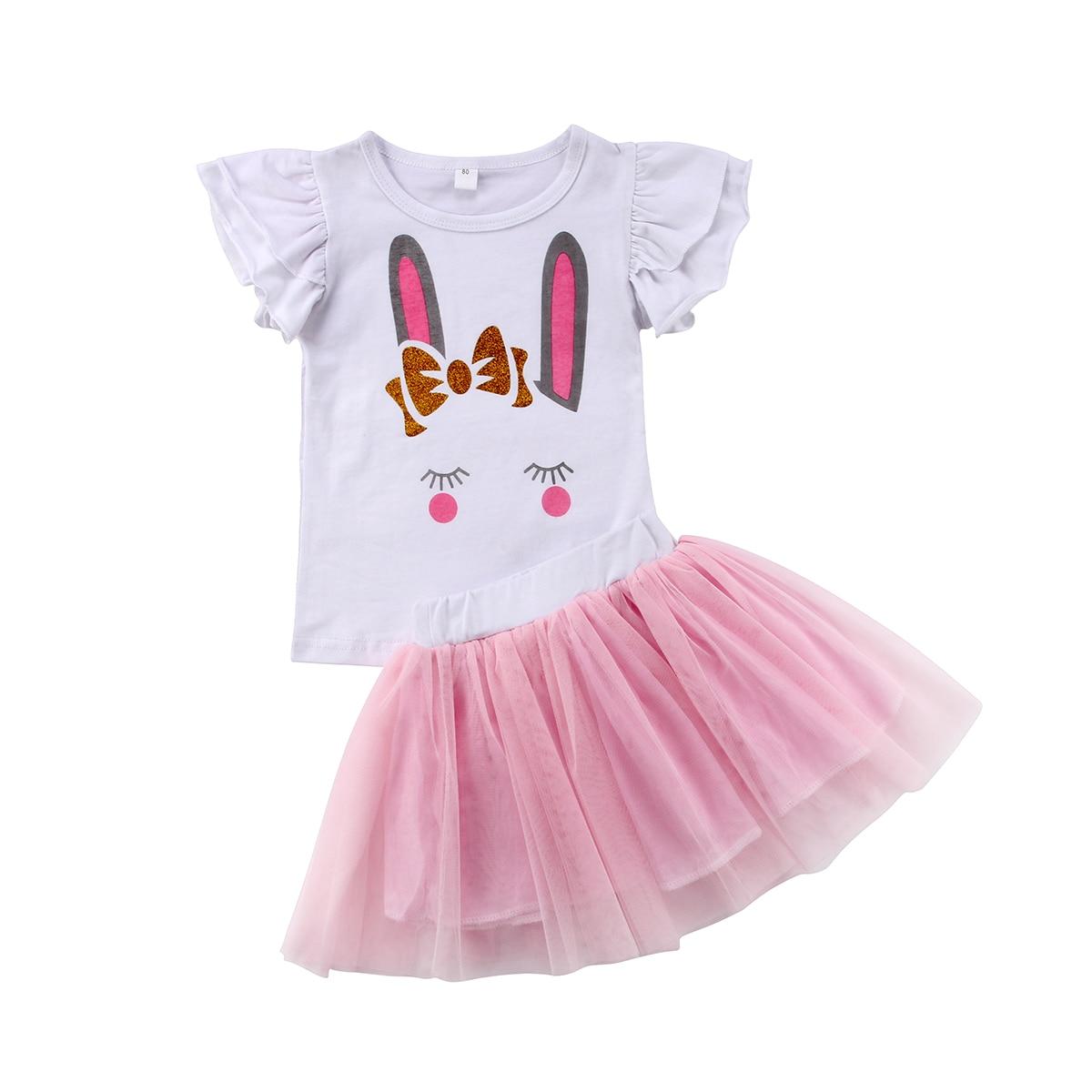 От 6 месяцев до 5 лет Детские для маленьких девочек животных печати короткий рукав топы белого цвета + розовый Туту Тюль Одежда принцессы ком...