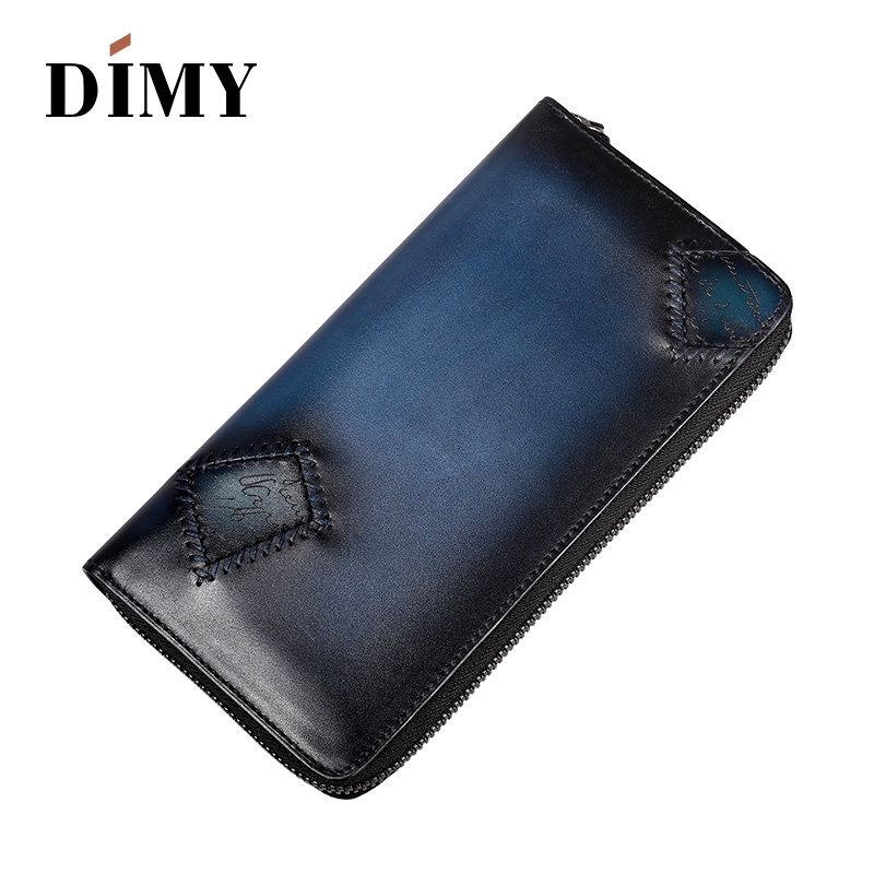 DIMY Genuine Leather Clutch Vintage Printing Credit card Holders Business 7 Card Slots Male Handmade Long Wallet Zipper men mimaki jv33 cjv30 ss21 permanent chip for mimaki jv33 ss21 printer jv5 ss21 chips