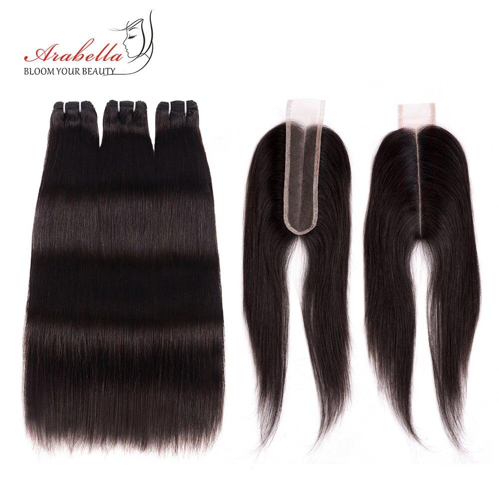 3 4 Bundles With Closure Brazilian Straight Hair Bundles With 2 6 Closure Remy Human Hair