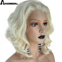 Anogol High Temperature Perruque 360 U Part 613 Blonde Short Deep Wave Frontal Hair Wigs Synthetic Lace Front Wig For Women