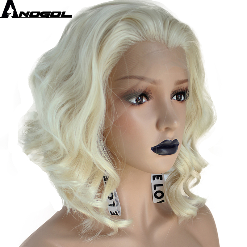 Anogol High Temperature Perruque 360 U Part 613 Blonde Short Deep Wave Frontal Hair Wigs Synthetic Lace Front Wig For Women image