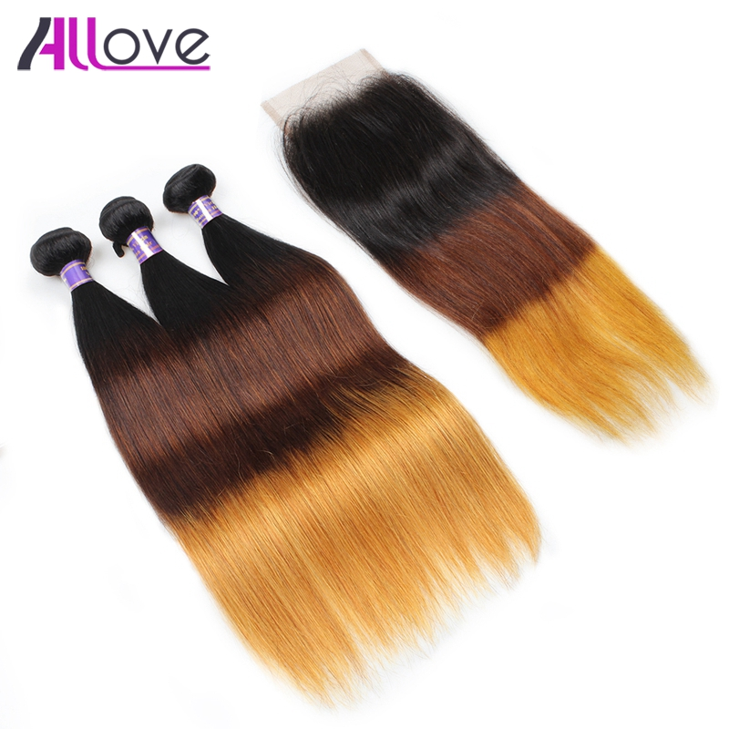 Allove Hair Ombre Straight Hair Bundles With Closure 1B/4/30 Peruvian Straight Human Hair Weave 3 Piece Remy Hair Extensions