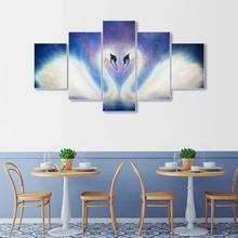 Laeacco Canvas Calligraphy Painting 5 Panel Swan Wall Art Abstract Animal Posters and Prints Nordic Home Living Room Decoration