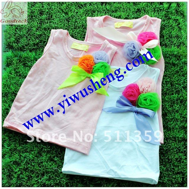 girl's pettitops fashion girl' t-shirts 2012 new design pettitops 30 pcs mix colors lovely and cute tops