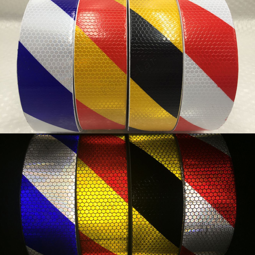 20Roll Wholesale Express  Reflective Warning Tape Self Adhesive Sticker for Car& Motorcycle 5cmx3m small shining self adhesive reflective warning tape with yellow black colorttwill printing for car and motorcycle