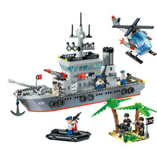 614Pcs Enlighten Military Series Toys Navy Frigate Ship Assembling Building Block Giocattoli Bricks Set  Compatible With Legoe