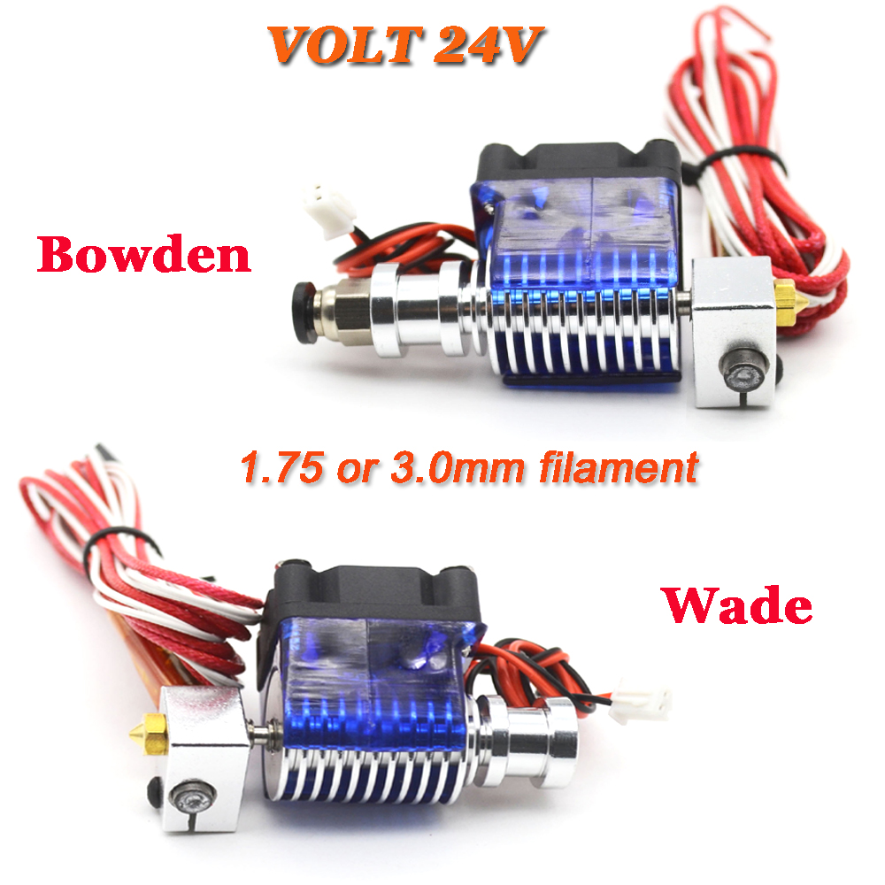 Lastest V6 24V J-head Hotend Wade and Bowden Extruder with Heater Thermistor Nozzle Fan Heat sink for 1.75mm 3D Printer Parts tronxy v6 bowden extruder print j head hotend with teflon tube and cooling heat for 3d printer