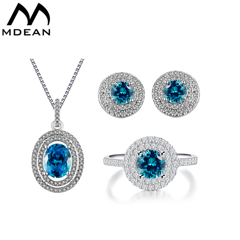 MDEAN White Gold Color Filled Saphire Jewelry Sets AAA Blue Zircon Engagement Vintage Rings + Earrings + Necklace For Women