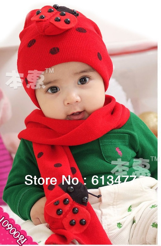 Winter  Keep Warm Knitted Hats For Boy/girl/kits Hats Set,scarves Bug/bee Design Infants Caps Beanine For Chilldren Hat-1
