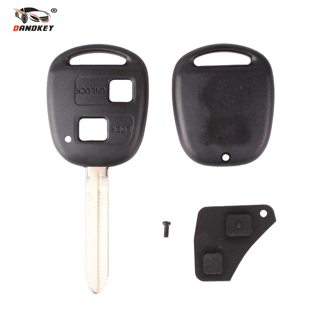 DANDKEY <font><b>Remote</b></font> <font><b>Key</b></font> Shell Case For <font><b>Toyota</b></font> <font><b>Avensis</b></font> Yaris Auris 2 <font><b>Buttons</b></font> <font><b>Key</b></font> Cover With <font><b>Button</b></font> Pad Rubber Fob Replacement image