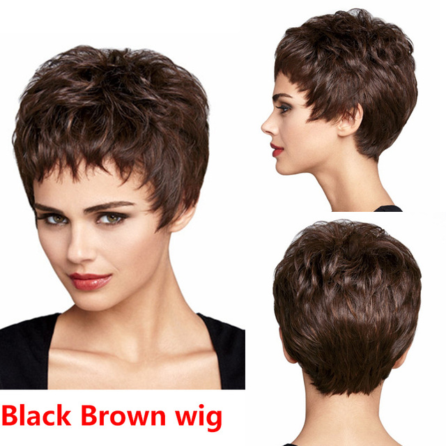 Womens Fashion Short Wavy wig Natural Black Brown curly wig Short synthetic hair Bob Wigs Sassy pixie cut synthetic curly wig